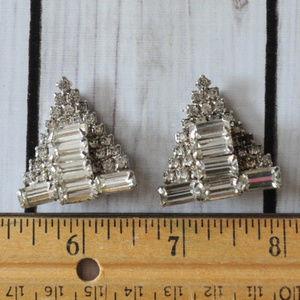 wow vintage crystal rhinestone triangle earrings